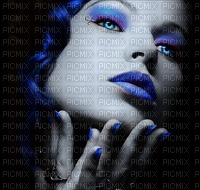 woman femme frau beauty  human person people face visage fond blue