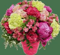 Pot rose avec pivoines