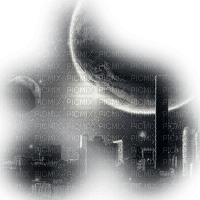 city transparent moon black