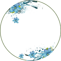 circle frame blue flowers cadre cercle bleu fleur