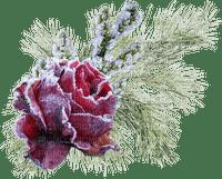 chantalmi déco rose branche hiver winter neige snow noël givre