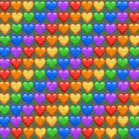 Rainbow emoji hearts overlay
