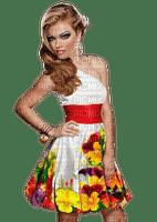 kvinna-vit-gul-klänning