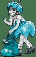 soave anime girl halloween black white teal