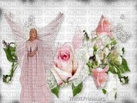 Ange et roses rose