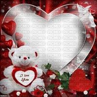 Fond d'amour fond rouge ours blanc en peluche coeur rouge oiseau Debutante fleurs rouges