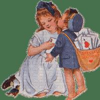 St. Valentin love couple heart children vintage_Saint Valentin amour couple cœur enfants