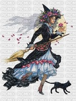 Witch on Broom & Black Cat