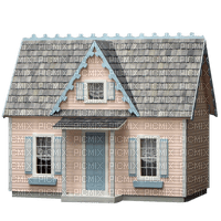 Cute Little Pink House with Blue Trim