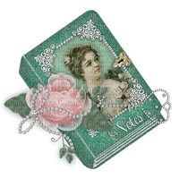 victorian book green with rose and pearls, Joyful226