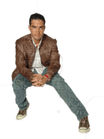 Man Jeans Blue Brown White  - Bogusia