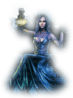 woman lantern blue  femme bleu lanterne