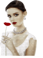 Woman Red Poppy Silver Brown White  - Bogusia