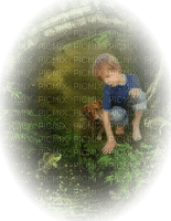 child enfant garden fishing