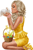 Woman with her rabbit. Easter. Leila