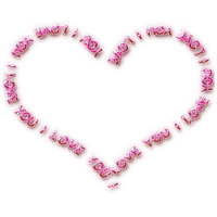 I LOVE you HEART TEXT PINK coeur