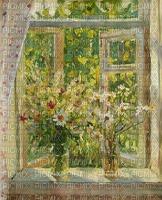 Fenster, Blumen, Vintage, Hintergrund