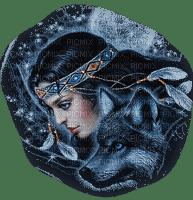 profil amérindien + loup