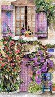 Haus, Fenster, Tür, Blumen, Hintergrund