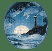 lighthouse night moon