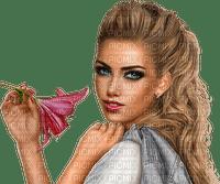 Fille avec une fleurs (stamp clem27)