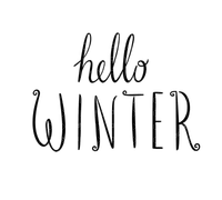 hello winter text black