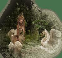 child girl swan enfant fille cygne