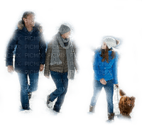 walking in snow family winter hiver