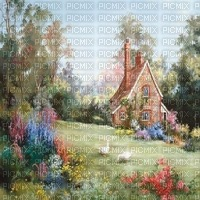 paysage landscape fond background summer ete spring printemps frühling primavera весна wiosna image garden jardin house haus maison vintage