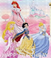 image ink happy birthday princesses Disney castle pastel edited by me