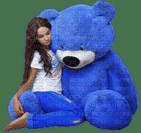 teddy bear blue bleu tube  mignon toy woman femme frau beauty human person people