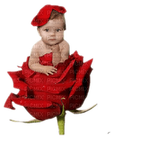 baby on rose red bebe rouge rose