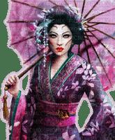 Rena asian Woman Frau pink Schirm Umbrella