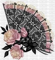 Eventail noir et roses