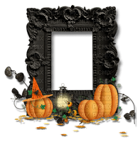 halloween black frame deco pumpkin