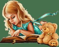 Children. Girl reading book. Leila