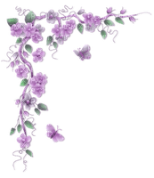 purple flower border deco violet fleur coin