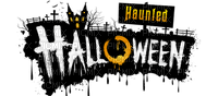 haunted halloween deco text vintage