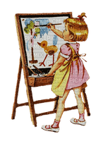 painting artist easel child girl vintage - paintinglounge